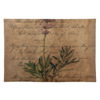 Vintage Lavender on Distressed Writing Paper Place Mat