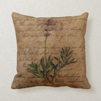 Vintage Lavender on Distressed Writing Paper Throw Pillow