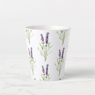 Vintage lavender pattern latte mug