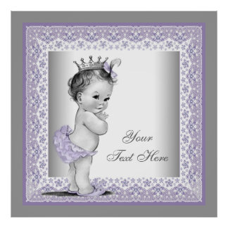 Vintage Lavender Purple Baby Girl Princess Print