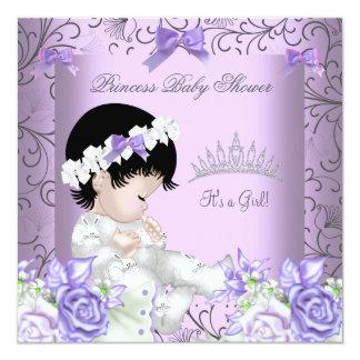 "Vintage Lavender Purple Gray Baby Shower Girl 5.25"" Square Invitation Card"