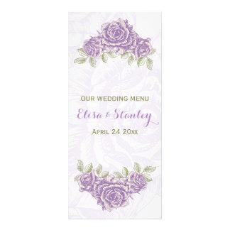 Vintage lavender purple roses wedding Menu card