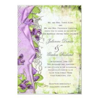 Vintage Lavender Purple Sweet Peas Floral Weddings Card