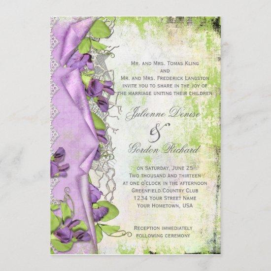 Vintage Lavender Purple Sweet Peas Floral Weddings Invitation
