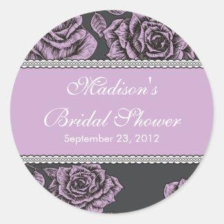 Vintage Lavender Rose Bridal Shower Sticker