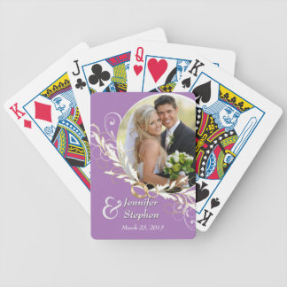 Vintage Lavender Swirl Wedding Photo Playing Cards
