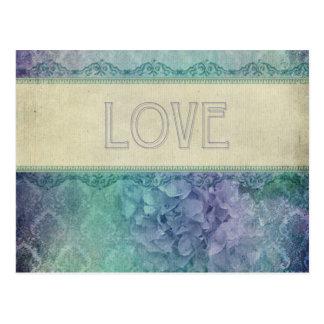 Vintage,lavender,teal,grunge,love,victorian,shabby Postcard