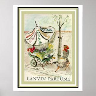 Vintage Lavin Parfums Flower Girl Poster 16 x 20