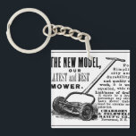 "Vintage lawn mower advert keychain<br><div class=""desc"">This vintage lawn mower newspaper advertisement features a lovely hand drawn illustration of a retro push lawnmower and old time typeface explaining how wonderful the gadget is. All composed in a funky,  old fashioned magazine ad.</div>"