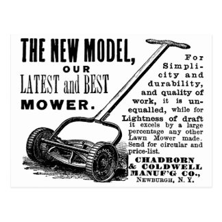 Vintage lawn mower advert postcard