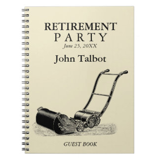 VINTAGE Lawn Mower - Retirement Party Guest Book Notebook