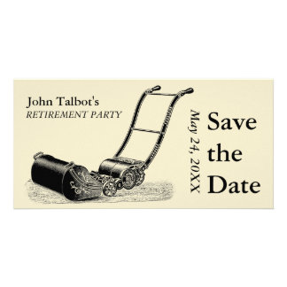 VINTAGE Lawn Mower Retirement Party Save the Date Card