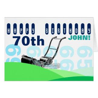 Vintage Lawnmower 70th Birthday Greeting Card