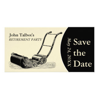 VINTAGE LawnMower Retirement Party Save the Date 2 Card