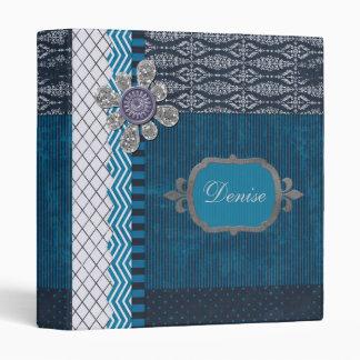 Vintage Layers of Blue with Sequins Blot & Frame 3 Ring Binder