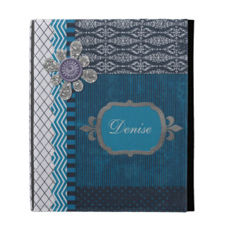 Vintage Layers of Blue with Sequins Blot & Frame iPad Cases