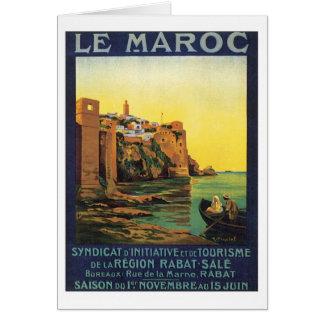 Vintage Le Maroc Marruecos Tarjeta De Felicitación