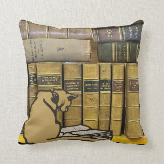 Vintage Leadhills Miners Library Cat Reading Book Throw Pillow