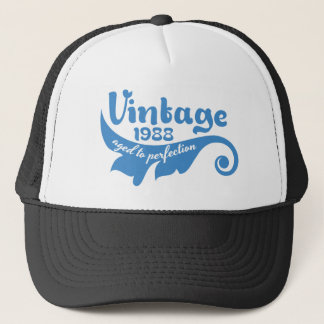 Vintage LEAF aged to perfection 1988 blue tshirt Trucker Hat
