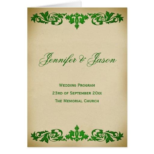 Vintage Leaf Scroll Wedding Program in Green Card