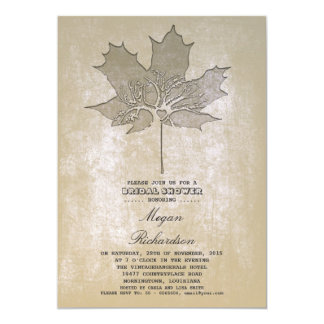 Vintage leaf tree romantic bridal shower card