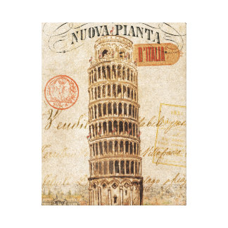 Vintage Leaning Tower of Pisa Canvas Print