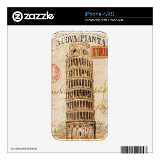 Vintage Leaning Tower of Pisa Decal For The iPhone 4