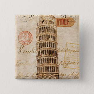 Vintage Leaning Tower of Pisa Pinback Button
