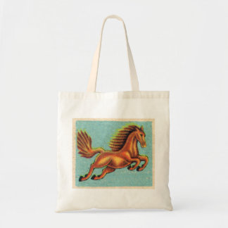 Vintage Leaping Horse Illustration Canvas Bags