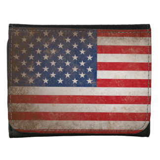 Vintage Leather American Flag Leather Wallets