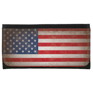Vintage Leather American Flag Leather Wallet For Women