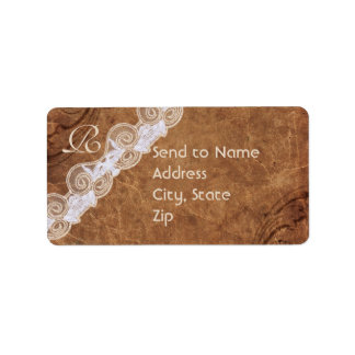 Vintage Leather and Lace Monogram Address Label Custom Address Label