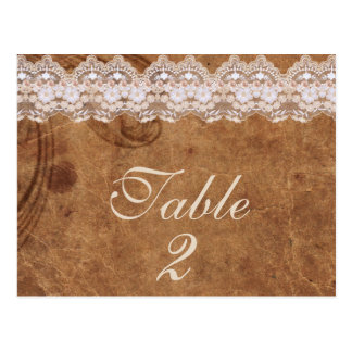 Vintage Leather and Lace Table Number Card Post Cards