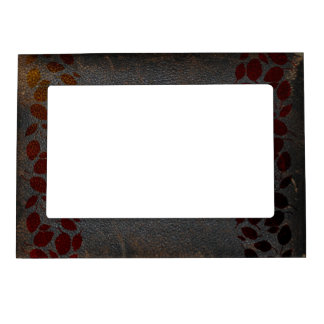 Vintage Leather Autumn Leaves Magnetic Frame