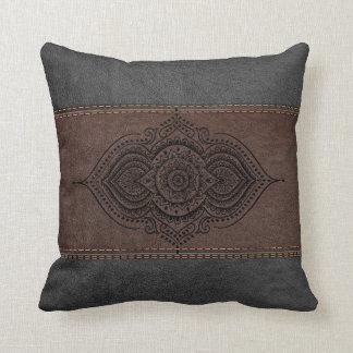 Vintage Leather Black Lace ornament Throw Pillow
