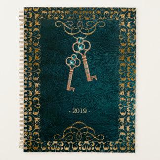 Vintage Leather Book Magic Keys Teal Gold Planner