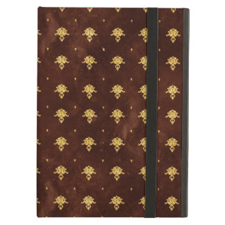 Vintage Leather Brown and Gold Damask Pattern iPad Air Cases