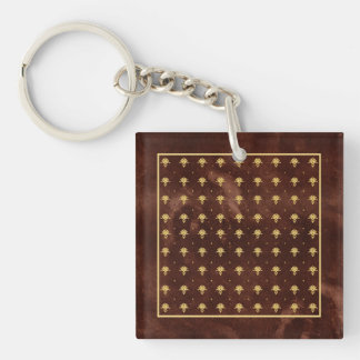 Vintage Leather Brown and Gold Damask Pattern Keychain