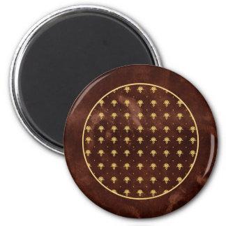 Vintage Leather Brown and Gold Damask Pattern Magnet