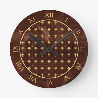 Vintage Leather Brown and Gold Damask Pattern Round Clock