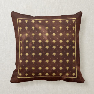 Vintage Leather Brown and Gold Damask Pattern Throw Pillow