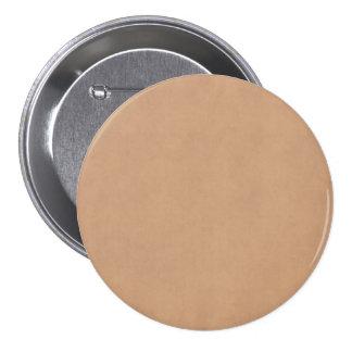 Vintage Leather Brown Parchment Paper Template Pinback Button
