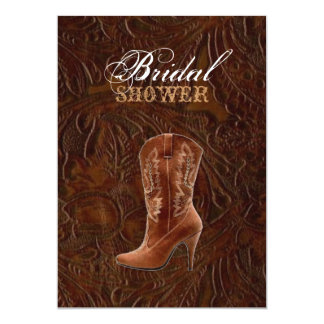 "vintage leather cowboy boots country Bridal shower 5"" X 7"" Invitation Card"