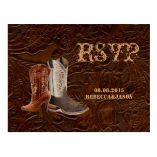 vintage leather cowboy boots country wedding RSVP Postcard