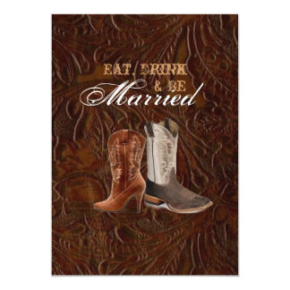 "vintage leather cowboy country  rehearsal dinner 5"" x 7"" invitation card"
