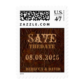 vintage leather cowboy country save the date postage