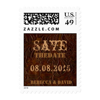 vintage leather cowboy country save the date postage stamp