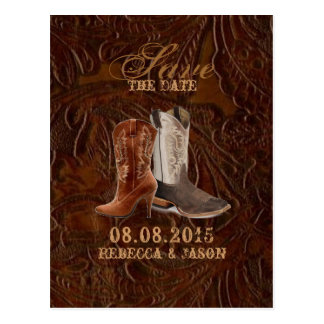 vintage leather cowboy country save the date postcard