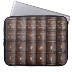 Vintage Leather Library Effect Laptop Sleeve at Zazzle