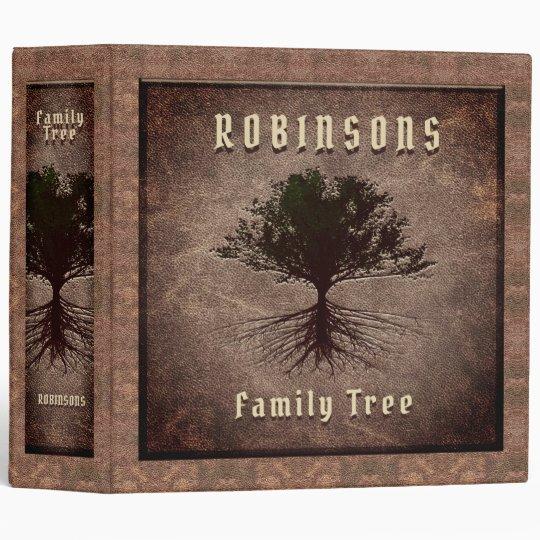 Vintage Leather Look Family Tree 3 Ring Binder